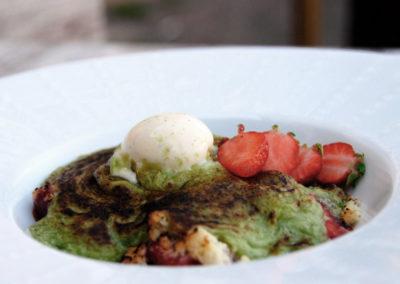 Gratin de fraise et sabayon pistache Restaurant Au Bon Pichet Sélestat